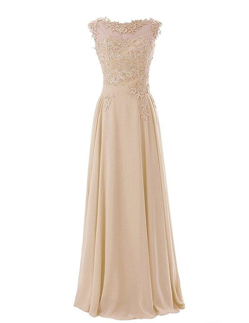 Rjer womens applique chiffon aline bridesmaid formal dress long