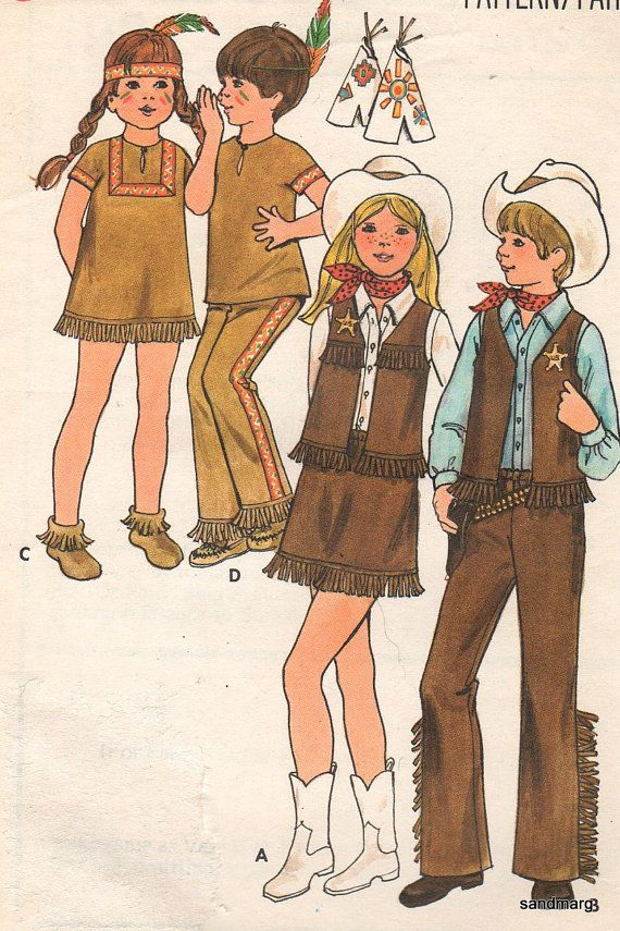 Vintage Butterick 4937 Cowboy and Indian Sewing by sandmarg | Fall ...