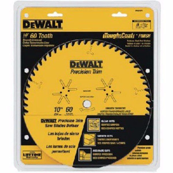 Dewalt Dw3215pt 10 Inch 60 Tooth Atb Crosscutting Saw Blade With 5 Or 8 Inch Arbor And Tough Coat Finish Dewalt Saw Blade Table Saw Blades