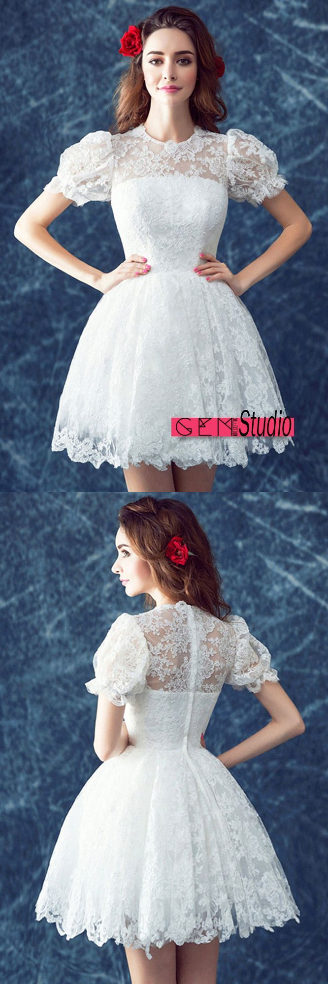 Retro lace short wedding dresses with short sleeves cute high neck