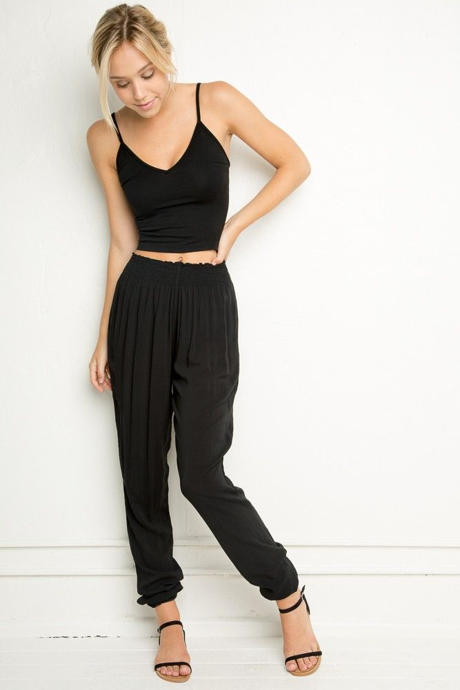 Brandy ♥ Melville | Cammy Pants + top (whole outfit) super cute in black