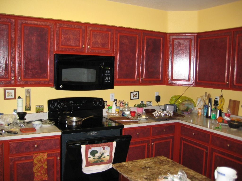 Yellow paint color ideas for small kitchen with cherry ...