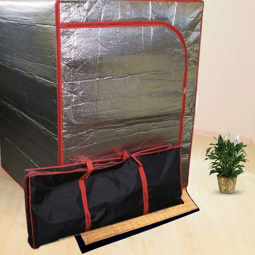 The Sauna Fix Radiant Near Infrared Sauna Tent With Tent Travel Bag And Bamboo Tent Floor Mat At Go Healthy Next Home Infrared Sauna Tent Infrared Sauna