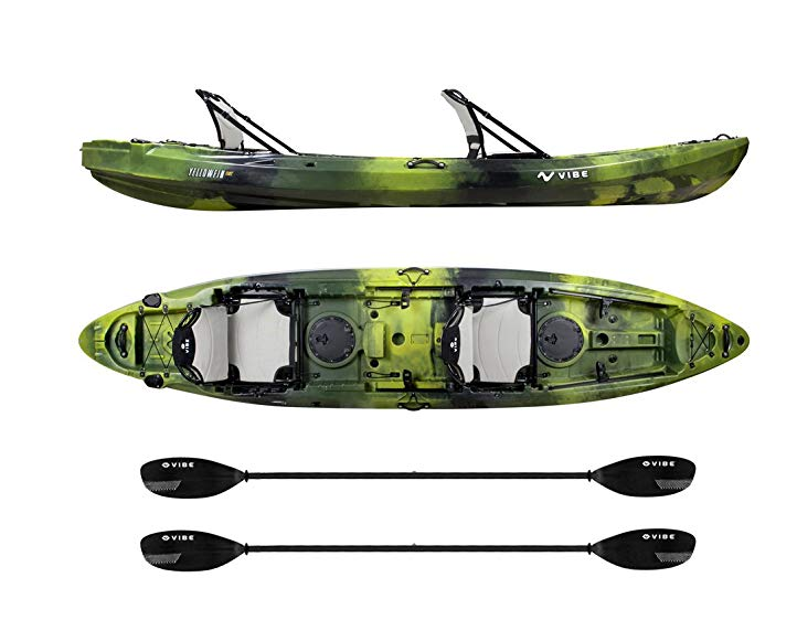 Vibe Kayaks Yellowfin 130t 13 Foot Tandem Sit On Top Kayak 2 Or 3 Person Package Includes 2 Hero Seats And 2 Paddles Kayak Tandem Kayaking Kayaking Tandem