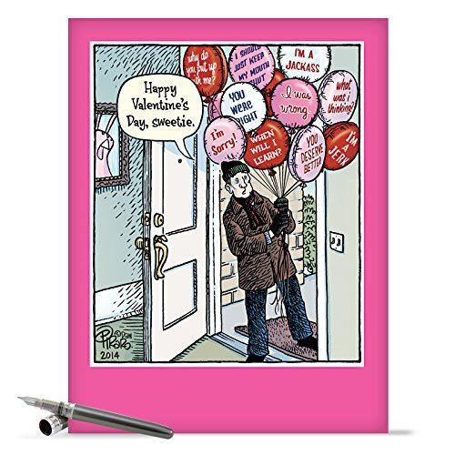 """J2216 Jumbo Funny Valentine's Day Card: 'Sorry Balloons' With Matching Envelope (Extra Large Version: 8.5"""" x 11"""") NobleWorks http://www.amazon.com/dp/B00RD7NDKW/ref=cm_sw_r_pi_dp_TNV1ub191DH78"""