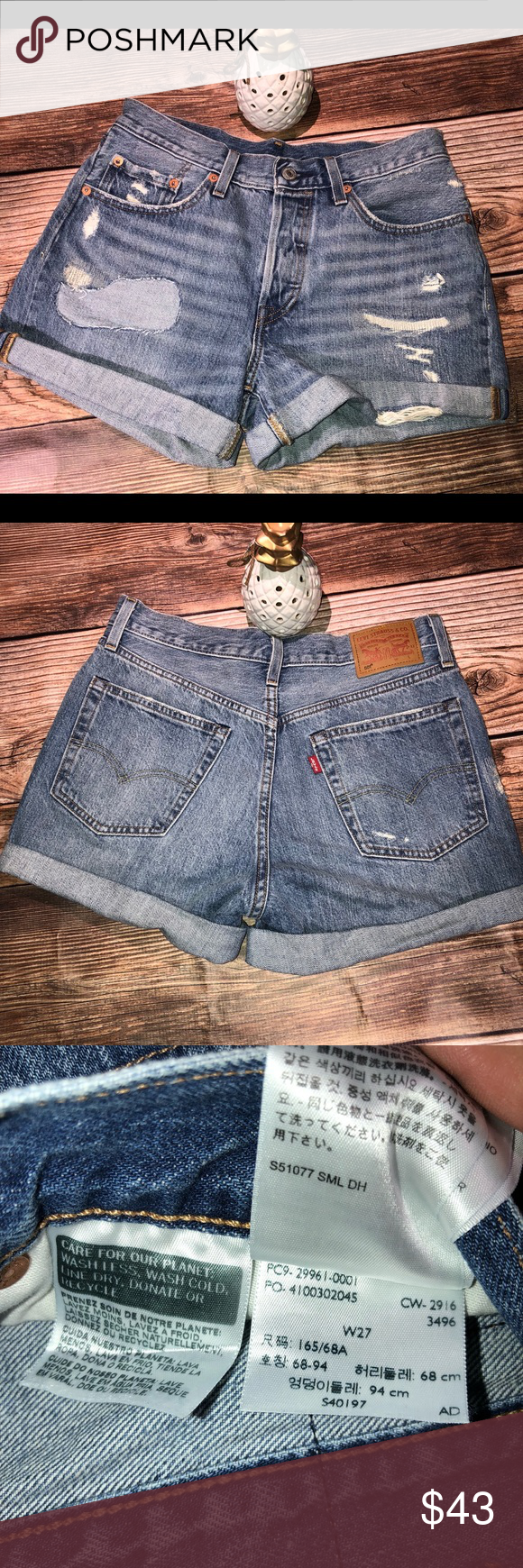 109727bfb8 Levis 501® LONG SHORTS high waisted Used once in excellent condition no  flaws Levi's Shorts Jean Shorts