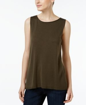 f289276d14477 Eileen Fisher Tencel Boat-Neck Tank Top - Green XXS