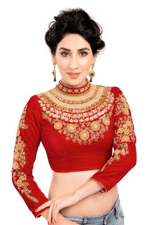 16197049214325 Magnificent Maharana Style Red Velvet Saree Blouse KP-72   G.N.O. ...