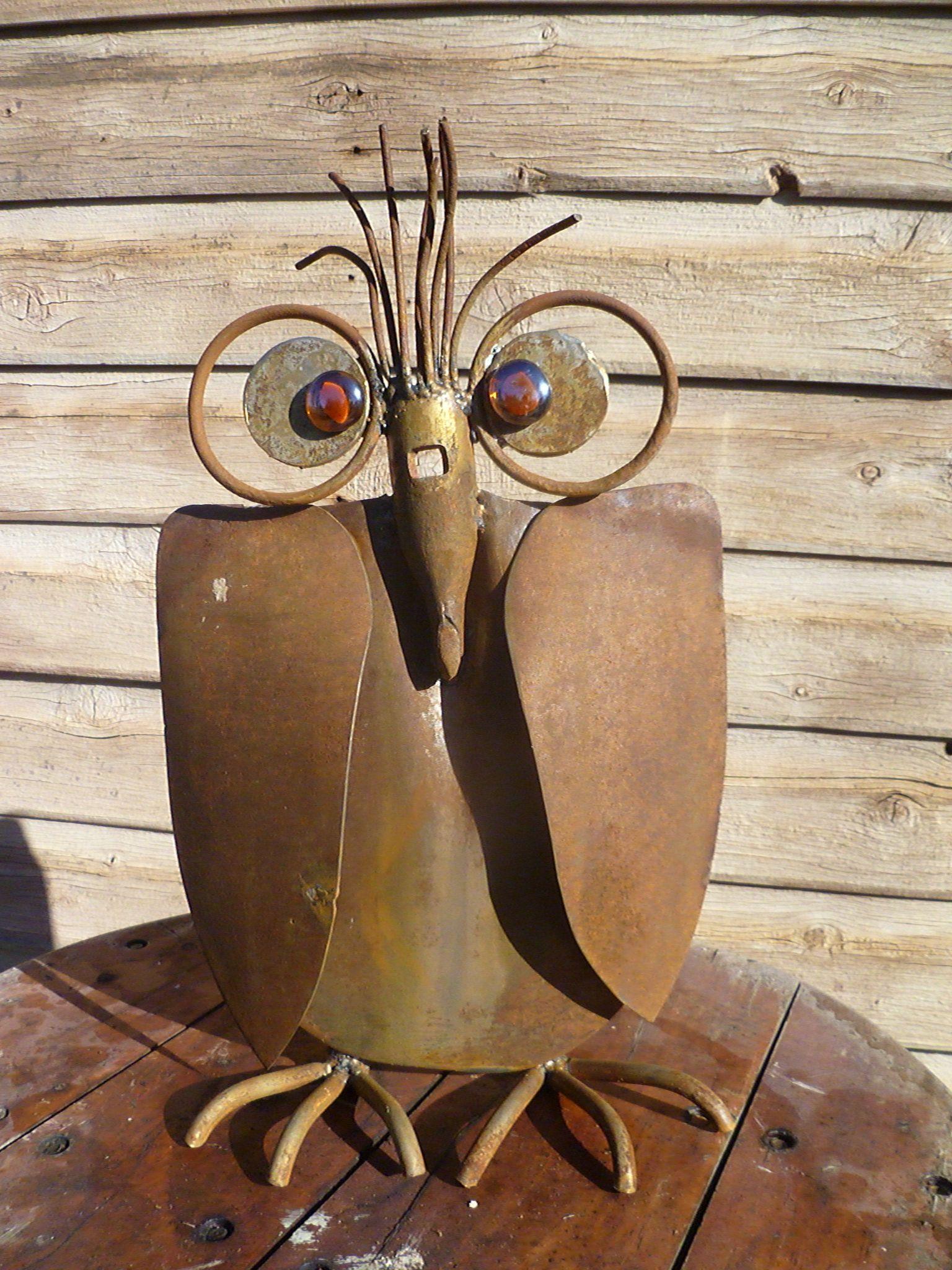 Scrap Metal Owl from a pair of shovels Metal art, Metal