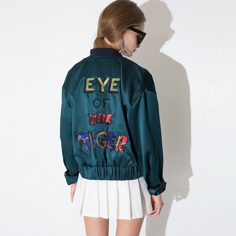 [PREMIUM] Eye of the tiger satin bomber jacket