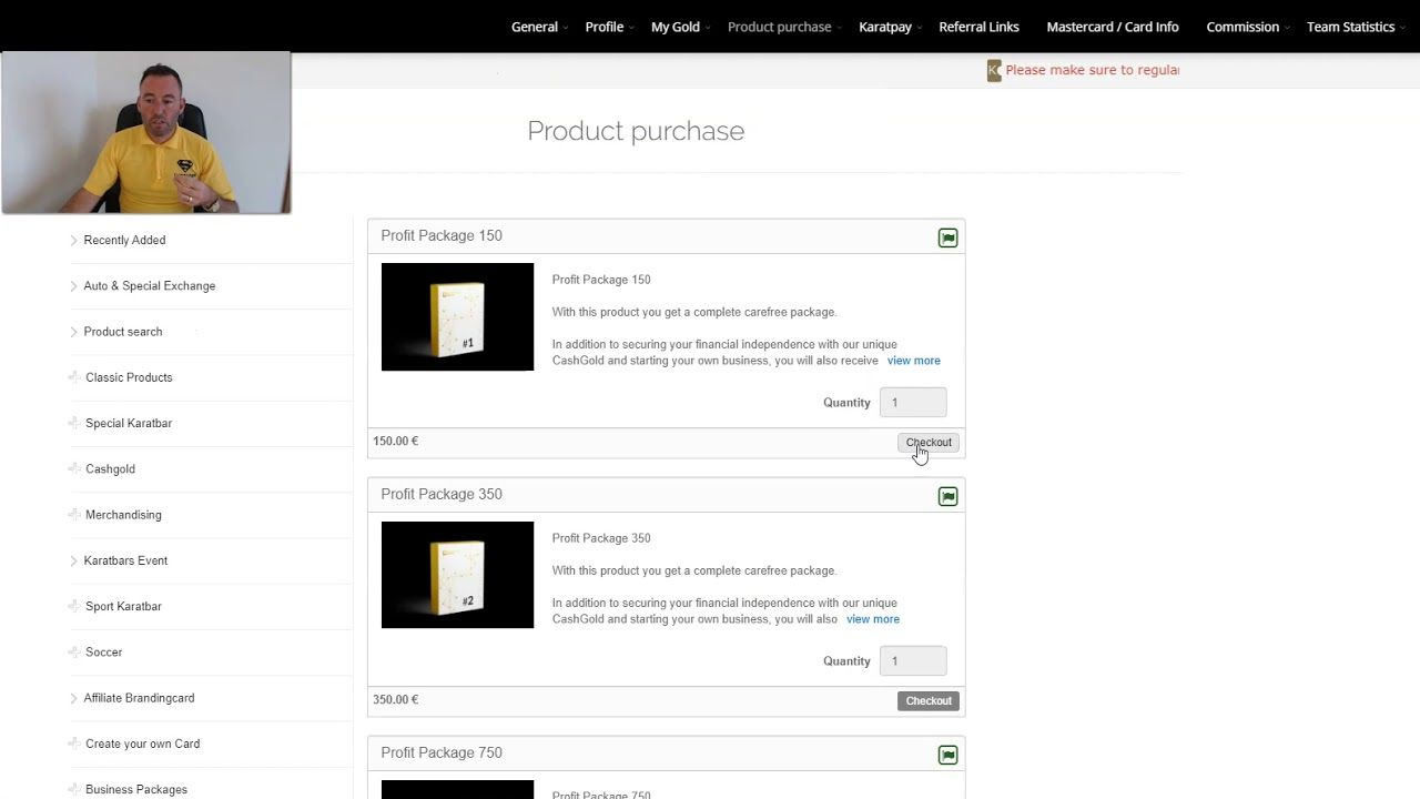Karatbars Tutorial Buying A WHIM, K1, Profit Package