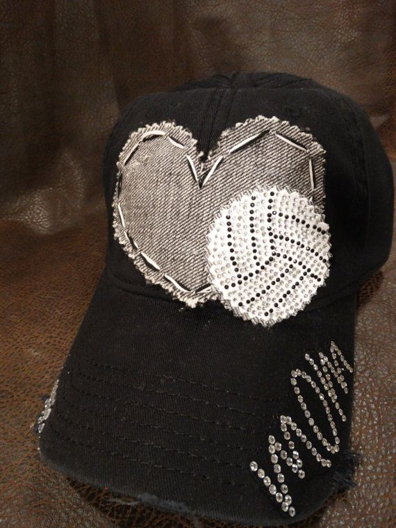 Volleyball Mom Love Bling Distressed Baseball Cap Volleyball Mom