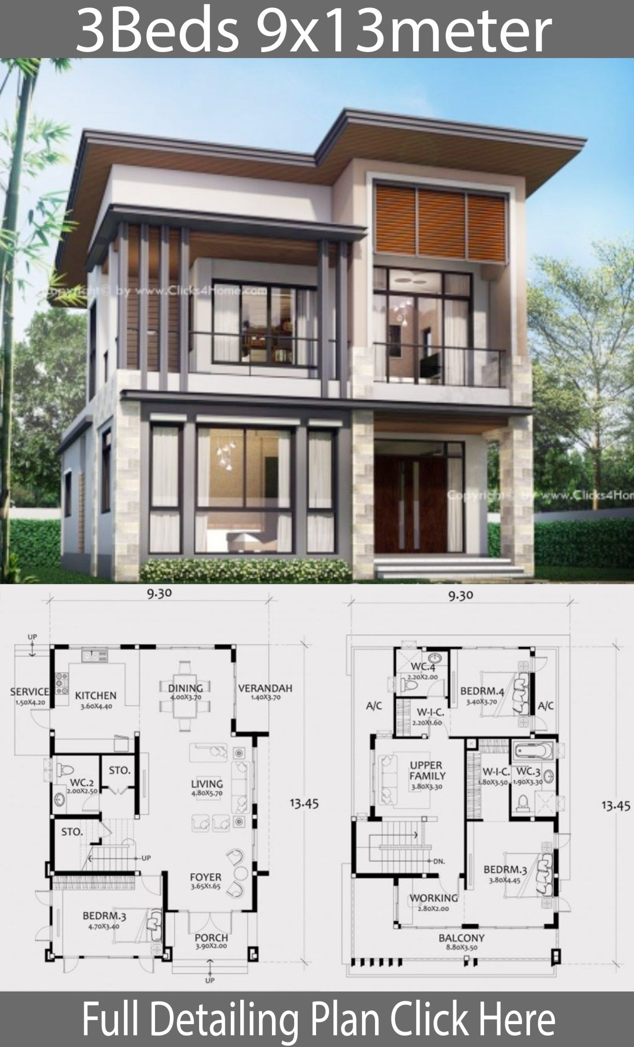 Home Design Plan 9x13m With 3 Bedrooms House Layout Plans Modern House Plans Home Design Plans