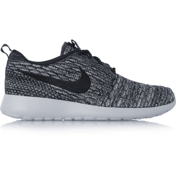 Nike Roshe One Flyknit mesh sneakers ($86) ❤ liked on Polyvore featuring shoes, sneakers, grey, nike footwear, grey shoes, laced shoes, nike sneakers and flyknit sneakers