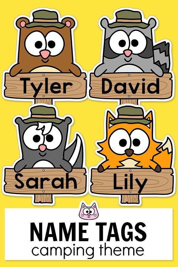 These fun forest animals camping theme name tags will look