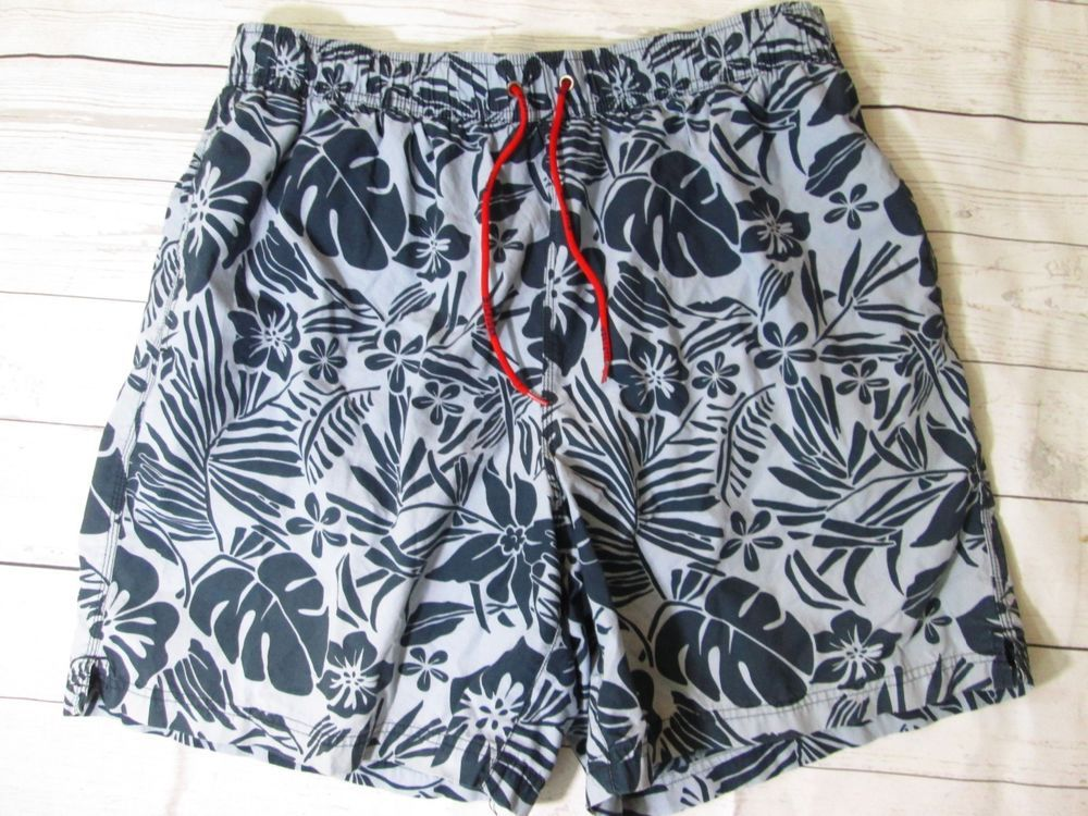 TOMMY HILFIGER Hawaiian Floral Gray SWIM TRUNKS Shorts Bathing Suit Men's XL #TommyHilfiger #Trunks