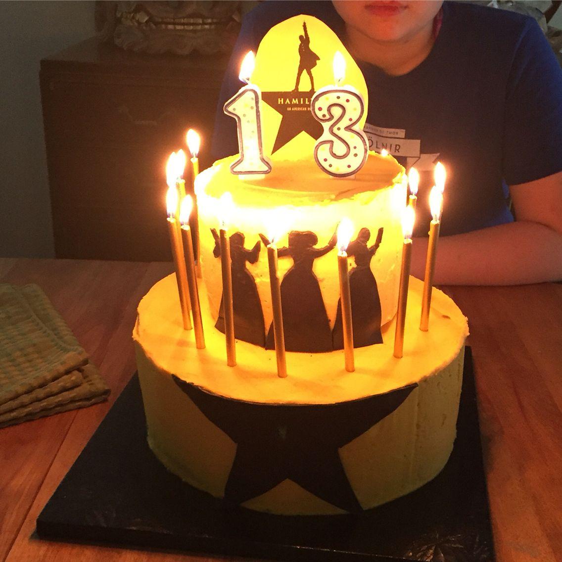 Hamilton Birthday Cake With Fondant Silhouettes