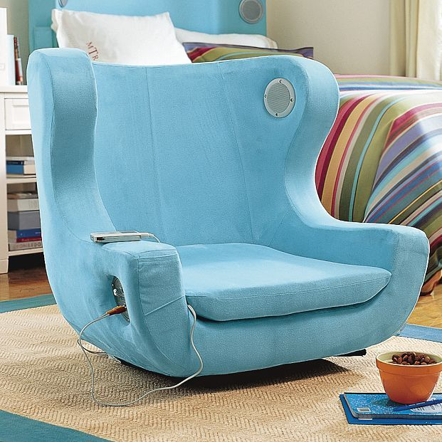 a chair that allows your charge your electronic device and also has a standard audio jack teen bedroom - Teen Room Chairs
