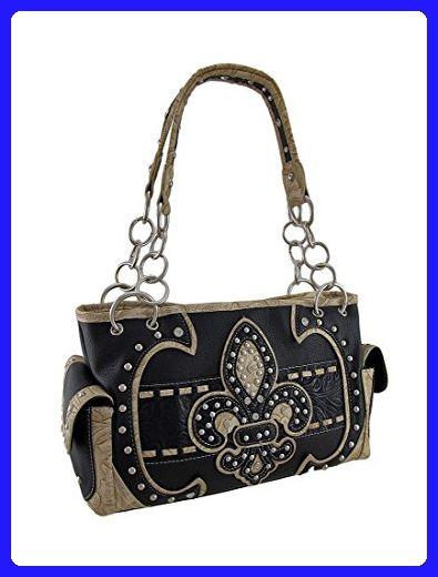Western Fl Embossed Studded Fleur De Lis Concealed Carry Purse Shoulder Bags