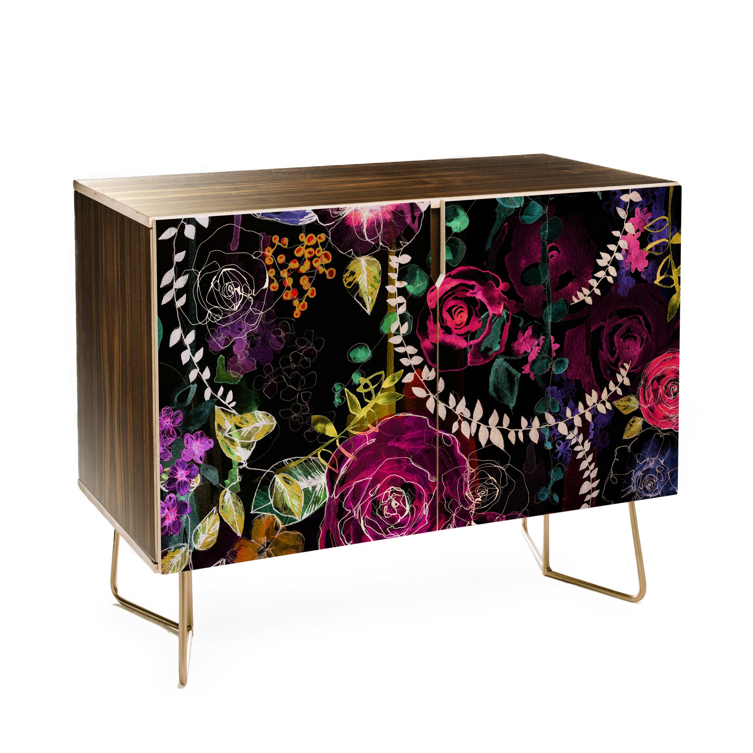 Holly Sharpe Rose Garden at Night Credenza is part of Rose garden Night -