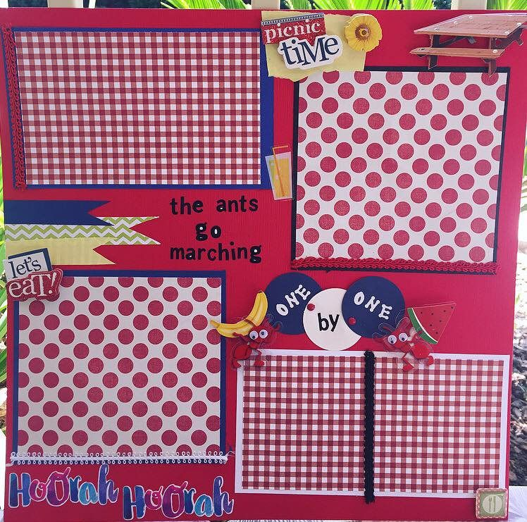 Picnic Time Premade Scrapbook Page By Scrapndownmemorylane On Etsy