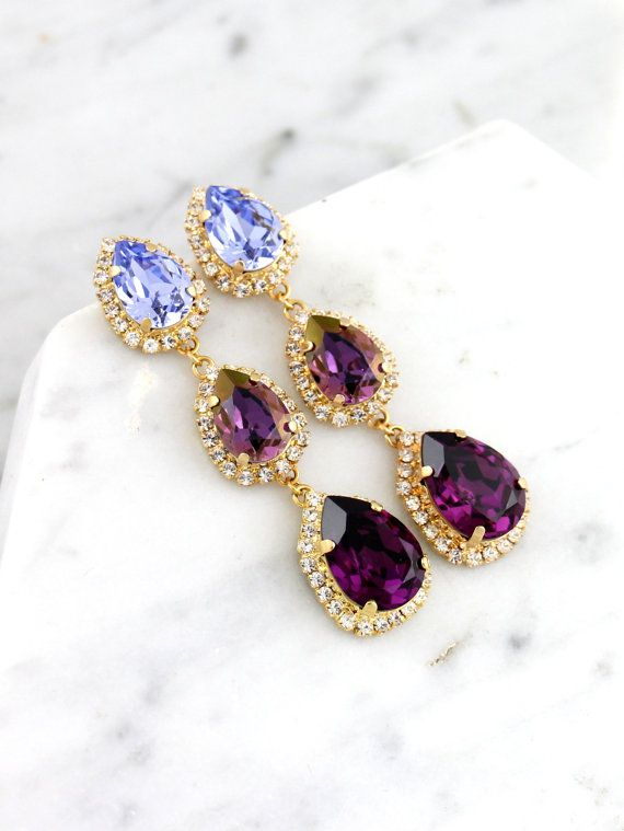 34edcf40a Purple Chandelier, Bridal Plum LONG Earrings, Swarovski Chandelier Earrings,  Bridal Purple Crystal Earrings, Lilac Purple Statement Earrings
