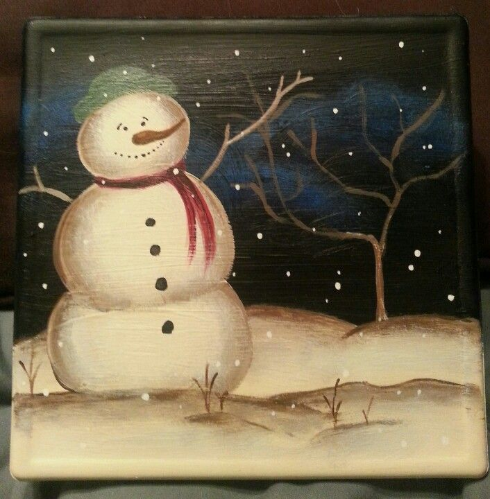 Snowman glass block handpainted