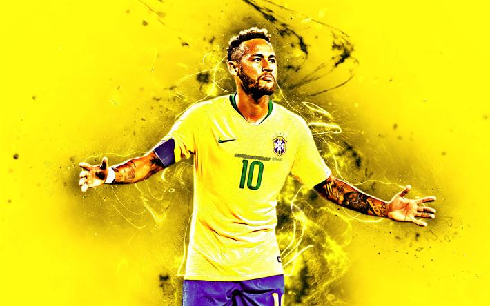 Download Wallpapers Neymar Joy Football Stars Brazil National Team Fan Art Yellow Background Neymar Jr Soccer Creative Neon Lights Brazilian Football In 2020 Neymar Neymar Jr Football Team