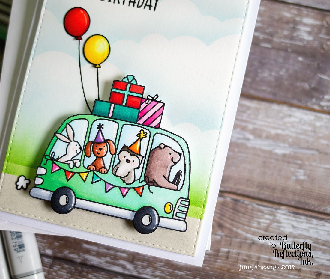 Avery Elle Birthday Bus stamp set see matching dies set