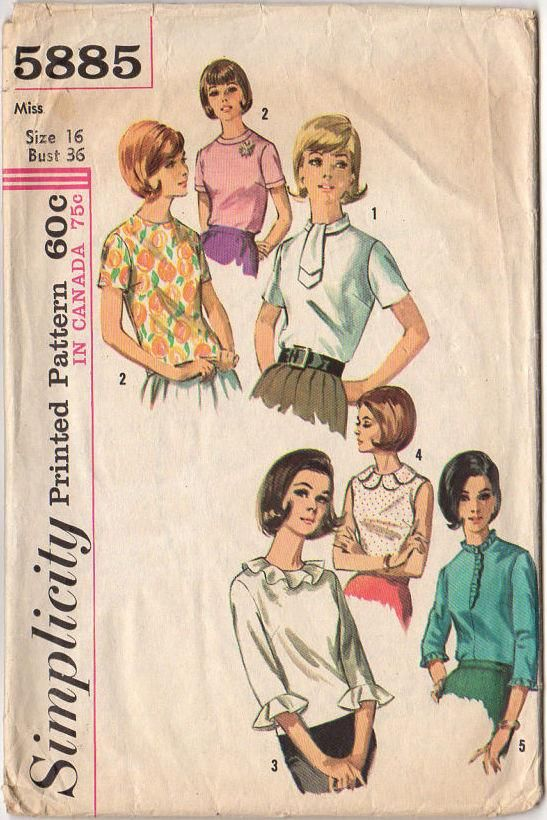Simplicity Sewing Pattern 5885 Vintage 1965 Misses\' Button Back ...