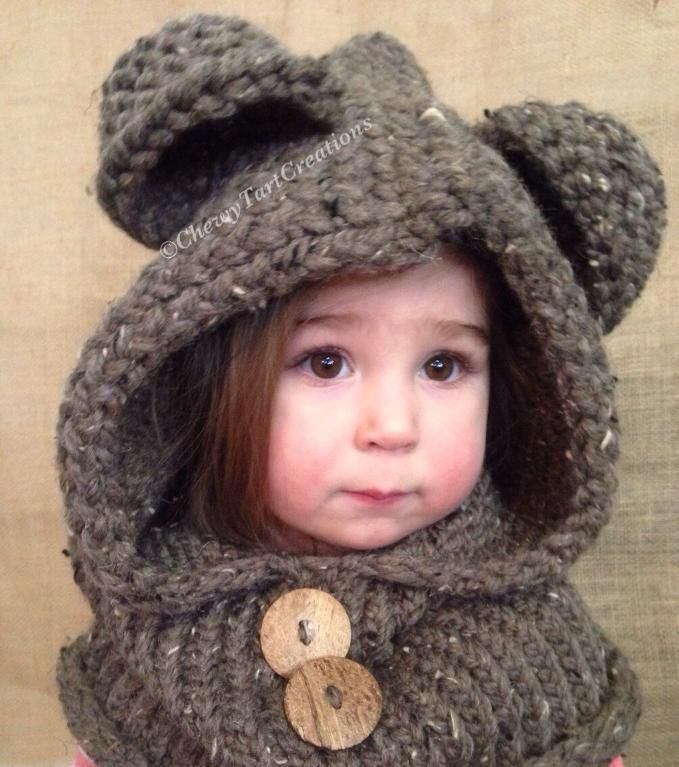 Cozy Bear hooded Cowl Loom Knit pattern | Gorros, Tejido y Telar