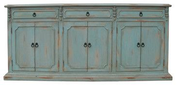 Narrow Sideboard Distressed Pale Blue Traditional Buffets And
