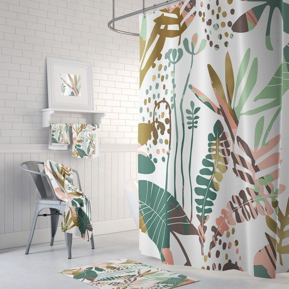Botanical Shower Curtain Tropical Bathroom