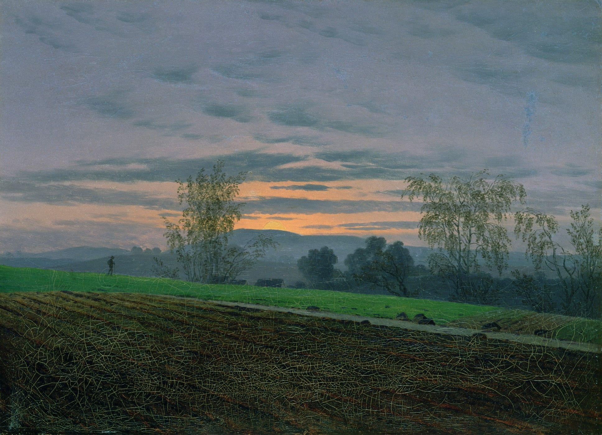 Pintura Granate Plowed Field Caspar David Friedrich 1774 1840