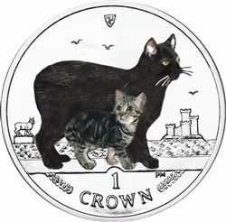 1988 MANX CAT Uncirculated Cupro Nickel 1 Crown Coin Isle of Man