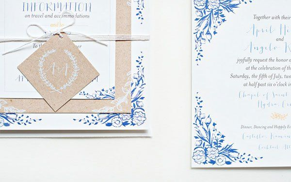 Blue Floral Kraft Paper Wedding Invitations Suite Paperie5 April + Angelos Floral and Kraft Wedding Invitations