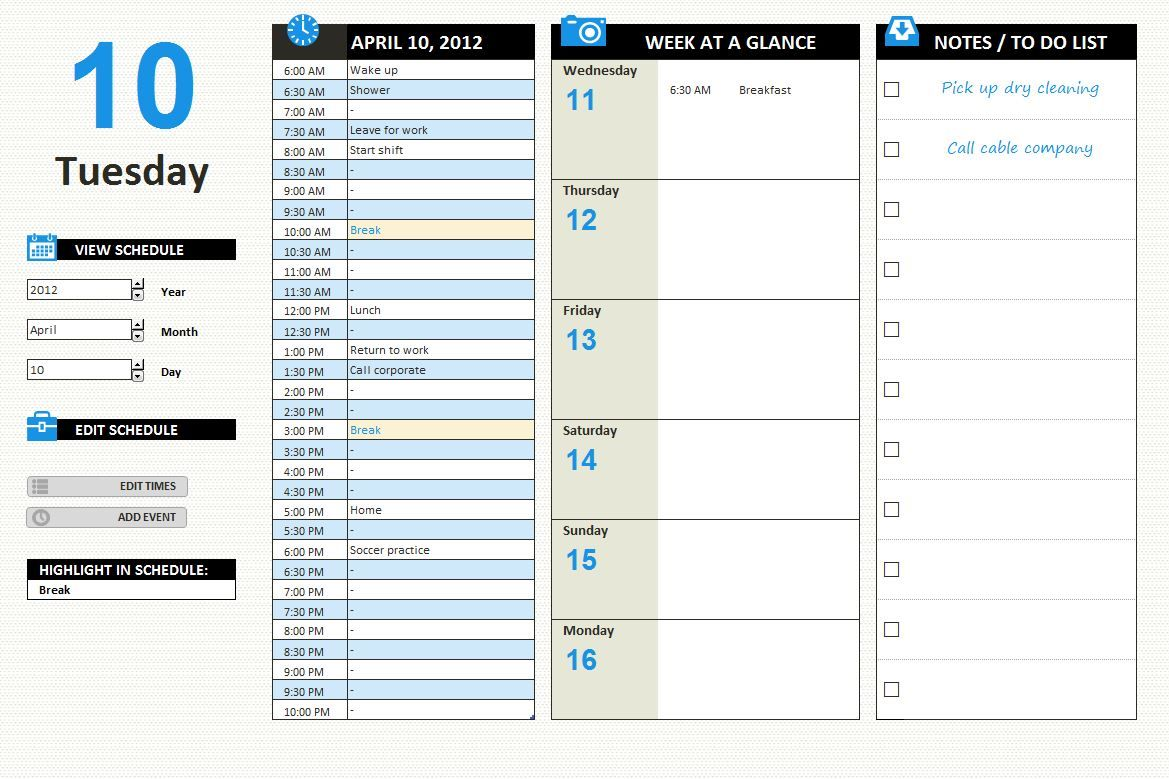 Printable Day Planner, Day Planner