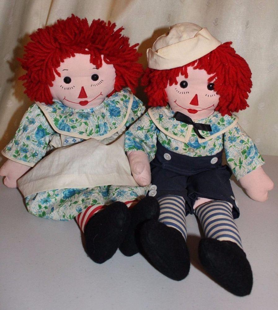 "Vintage Handmade Raggedy Ann and Andy Dolls 23"" Tall #Dolls"