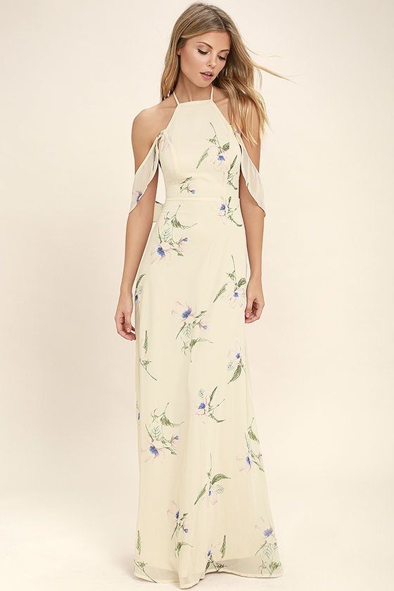 d93866f44892 Lulus Exclusive! Find a peaceful moment in the Tuned In Light Beige Floral  Print Maxi Dress! Lightweight chiffon with a green