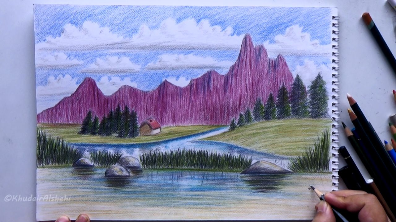 Learn Realistic Graphics How To Draw A Landscape In Wood Colors Drawing Art Painting Learn To Paint Landscape