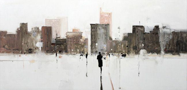 Geoffrey Johnson, City Study Gray 1, 2014, Oil on wood panel, 18 x 36 inches