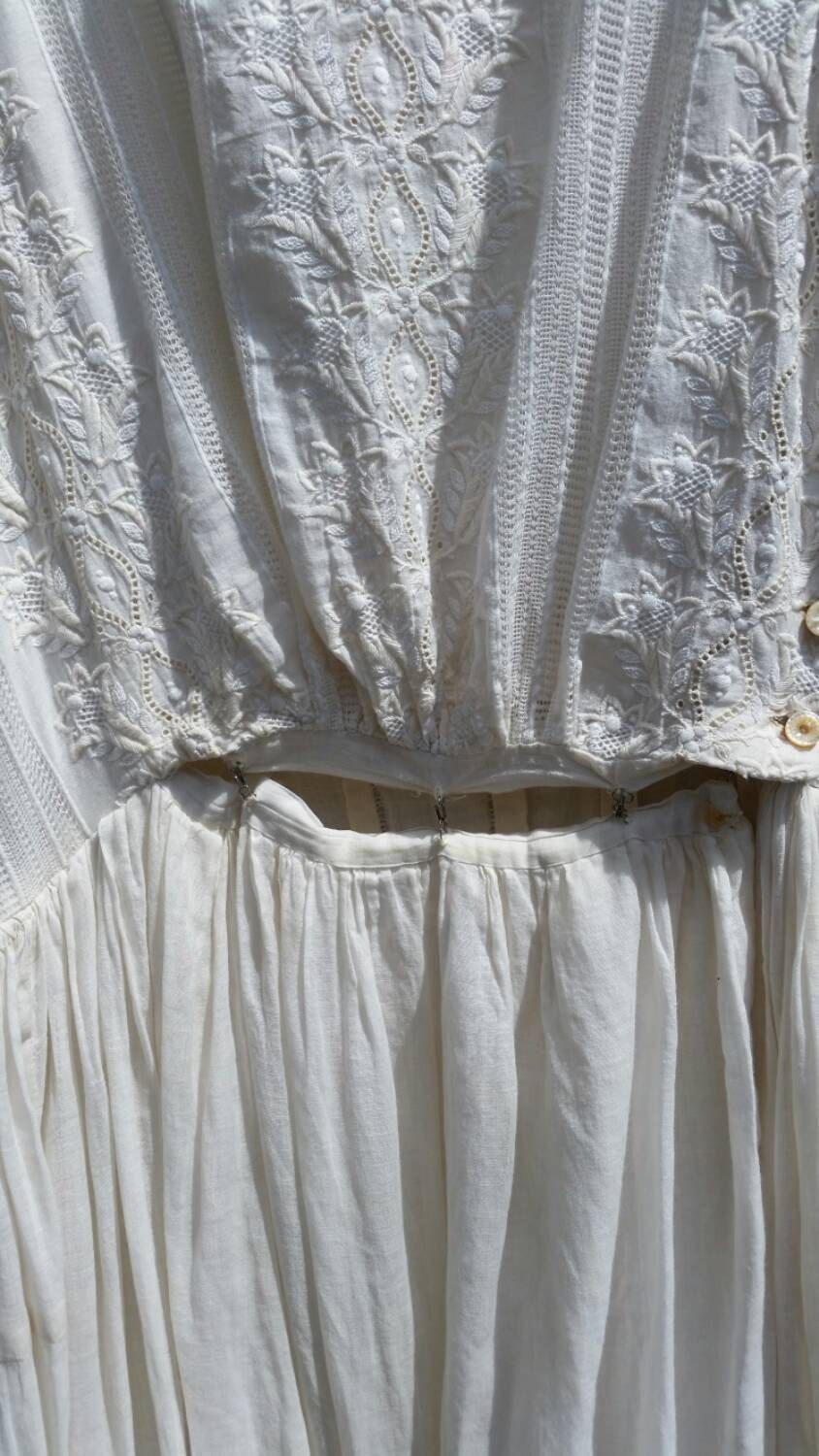 White Victorian Dress by gaylevintageclothing on Etsy