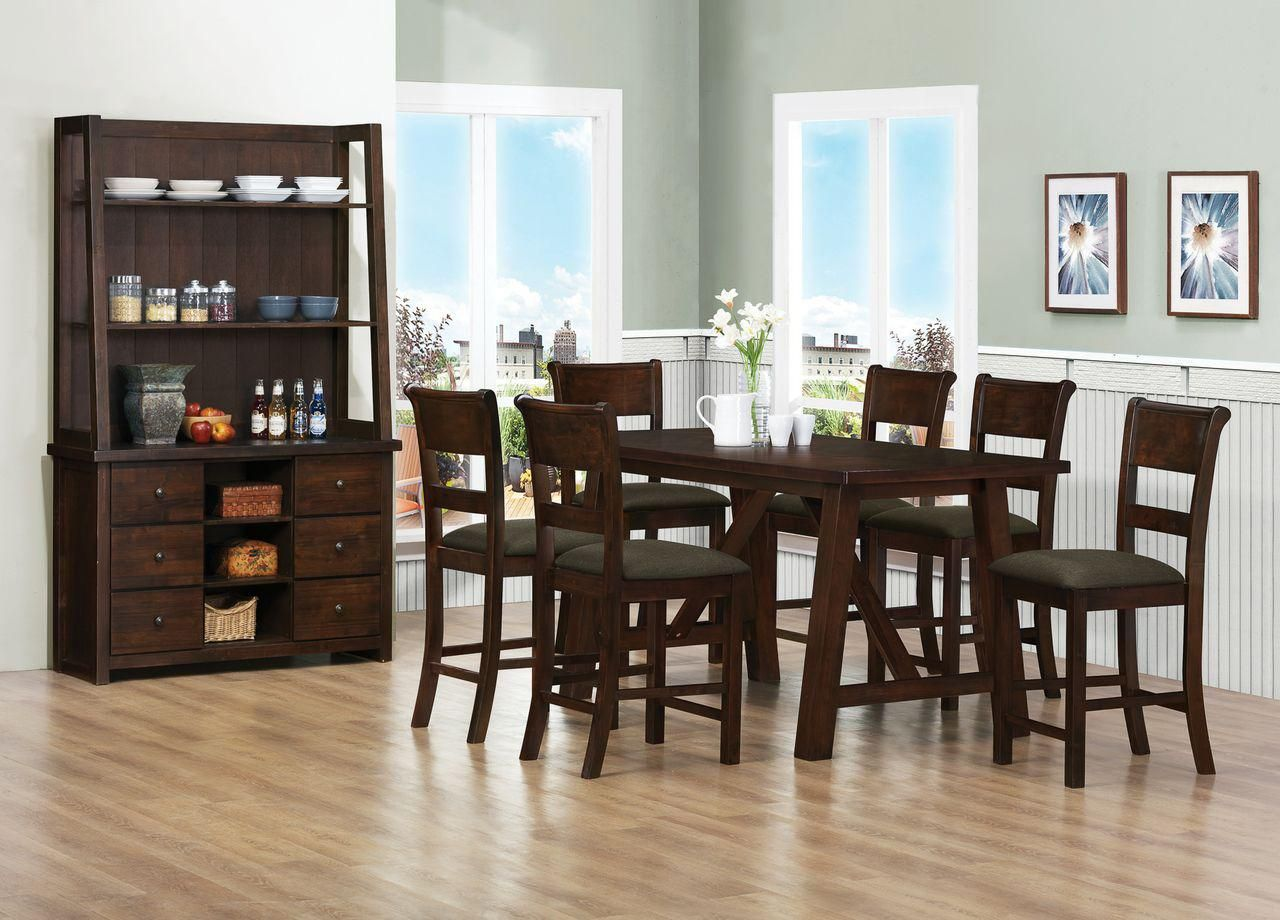 Dark brown dining room furniture sets with buffet storage with green ...