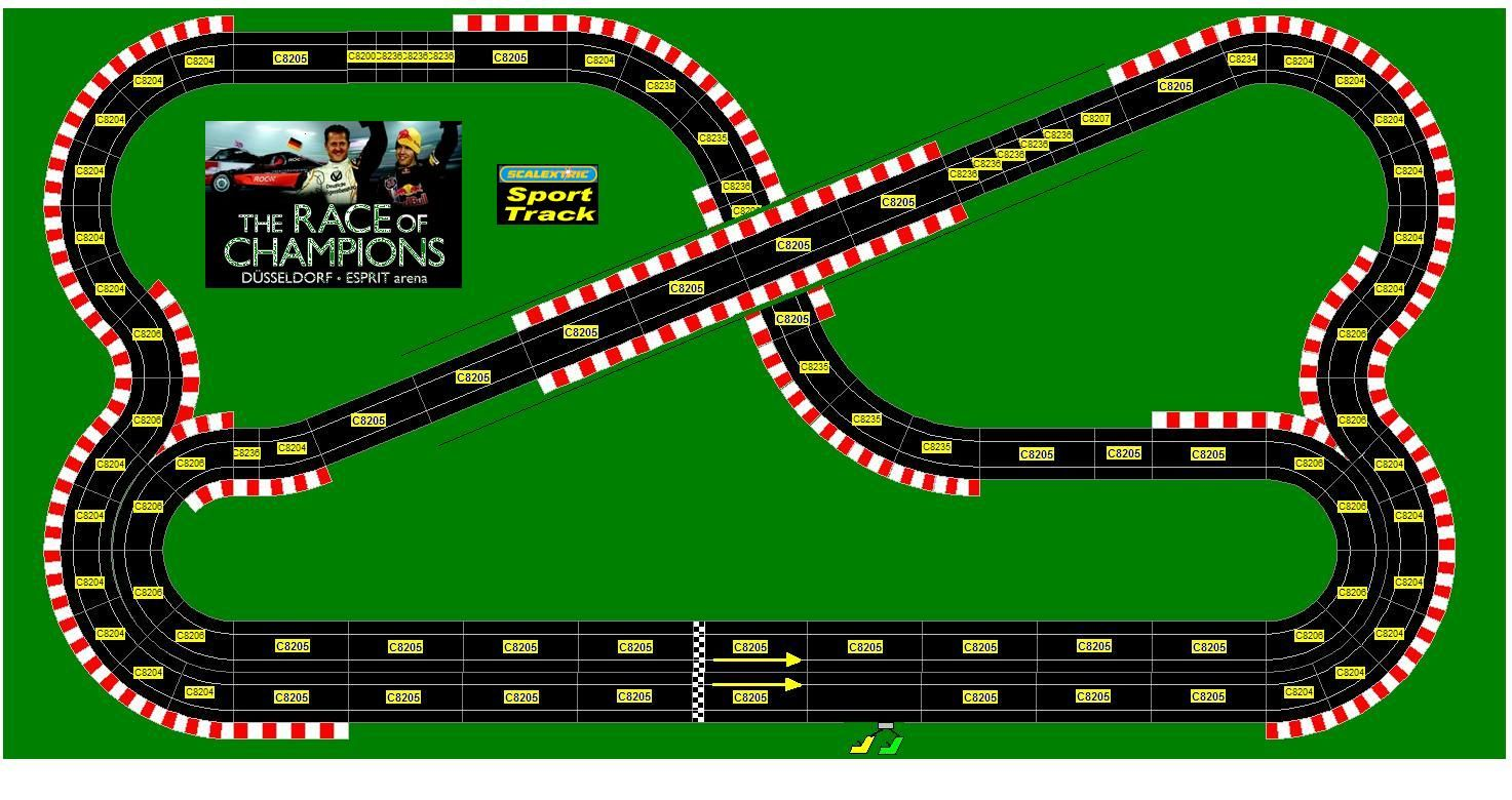 Race of Champions slot car layout Slot car race track