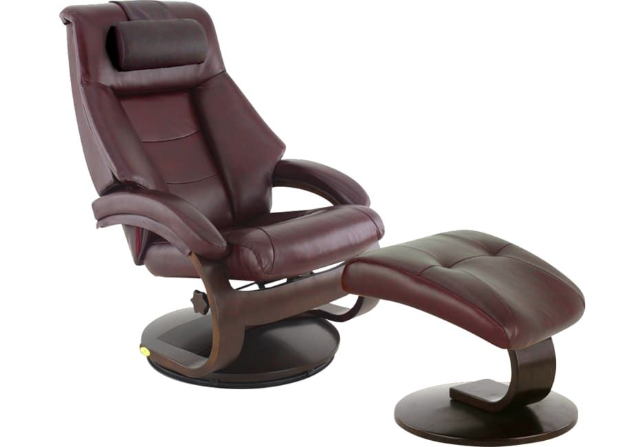 Terrific Oslo Collection Mandal Burgundy Leather Recliner Ottoman Gmtry Best Dining Table And Chair Ideas Images Gmtryco