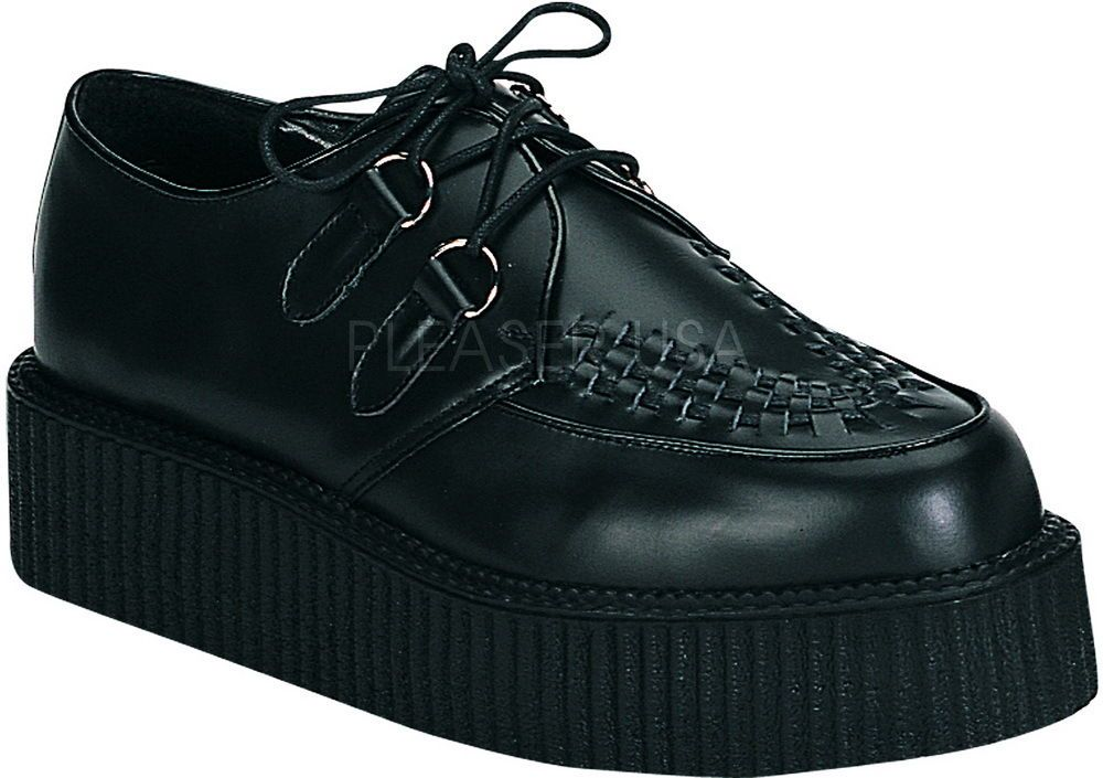 Goth Punk Rockabilly Leather Platform Lace Creeper Boots