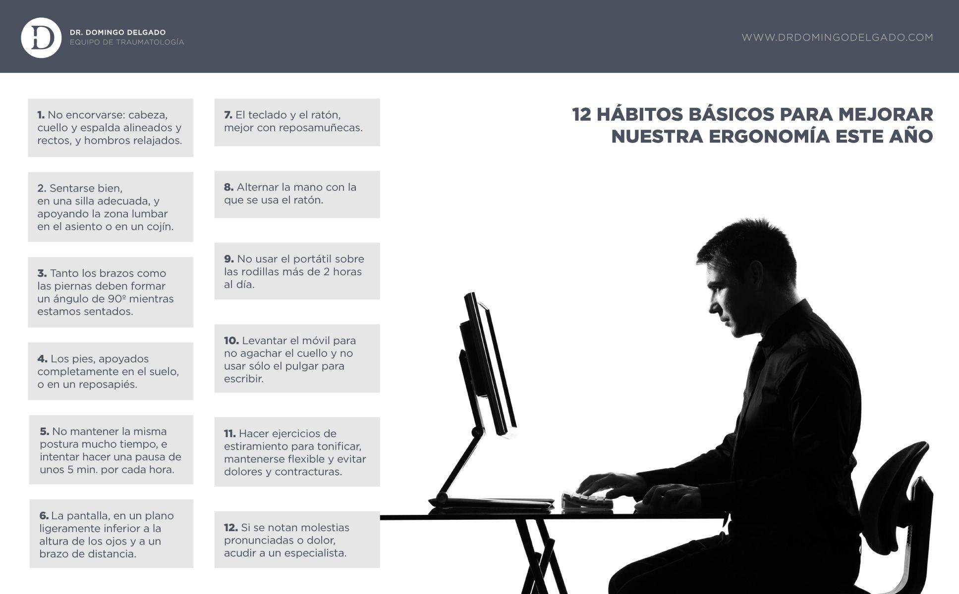 12 hábitos básicos para mejorar nuestra ergonomía