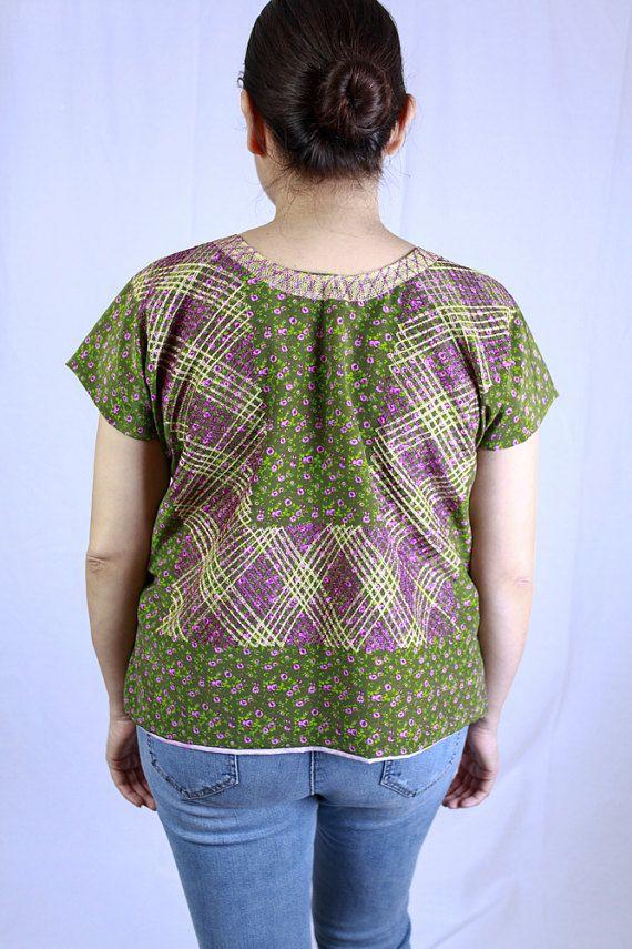Tehuana verde mexicano blusa M/L por TodoFresh en Etsy