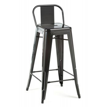 Black Tolix Style 75cm Stool with Low Back Rest