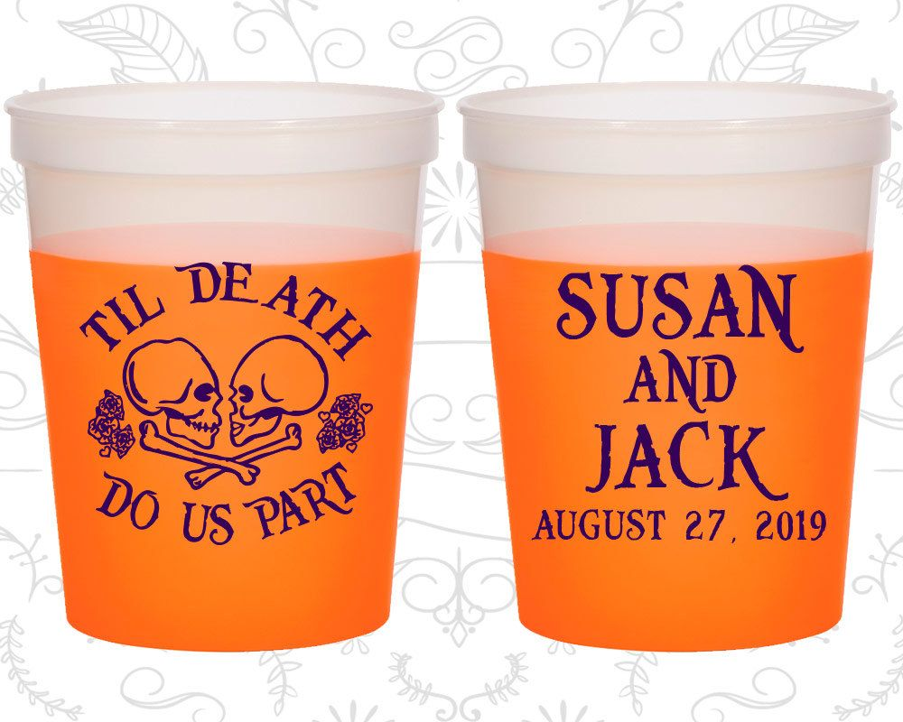 Till Death Do Us Part, Customized Mood Cups, Day of the Dead, Candy Skull, Orange Mood Cups (213)